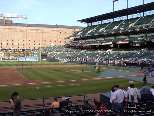 Seat view from section 54 at Oriole Park at Camden Yards, home of the Baltimore Orioles