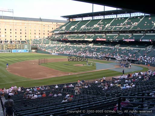 Seat view from section 59 at Oriole Park at Camden Yards, home of the Baltimore Orioles
