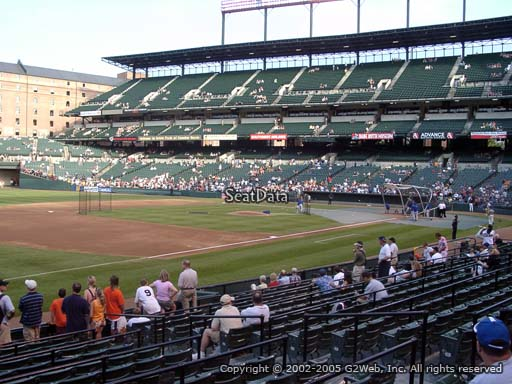 Seat view from section 60 at Oriole Park at Camden Yards, home of the Baltimore Orioles