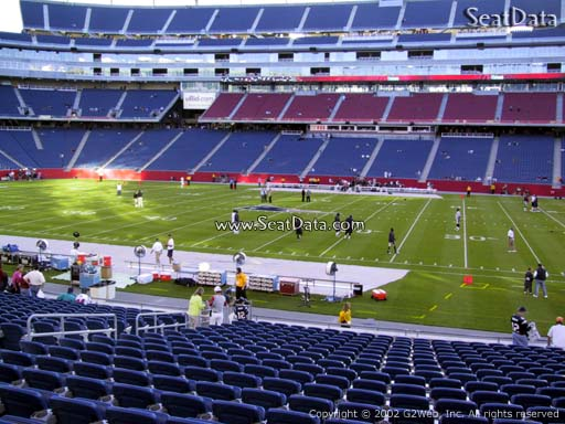 Seat view from section 108 at Gillette Stadium, home of the New England Patriots