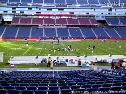 Seat view from section 110 at Gillette Stadium, home of the New England Patriots