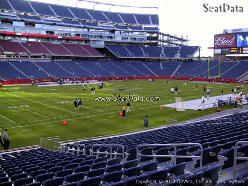 Seat view from section 114 at Gillette Stadium, home of the New England Patriots