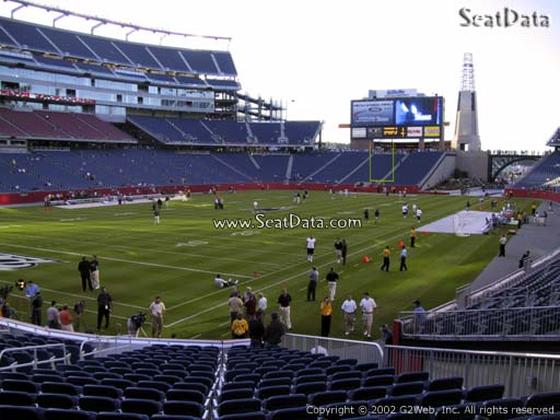 Seat view from section 117 at Gillette Stadium, home of the New England Patriots