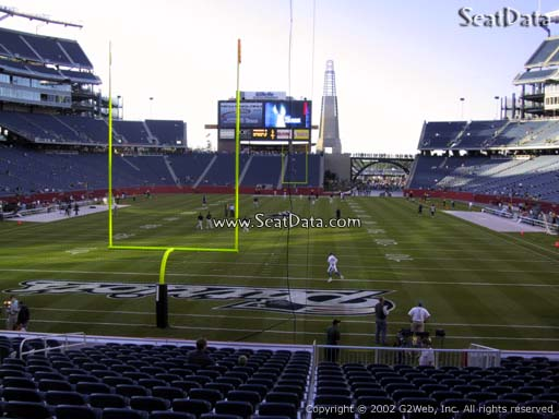 Seat view from section 120 at Gillette Stadium, home of the New England Patriots