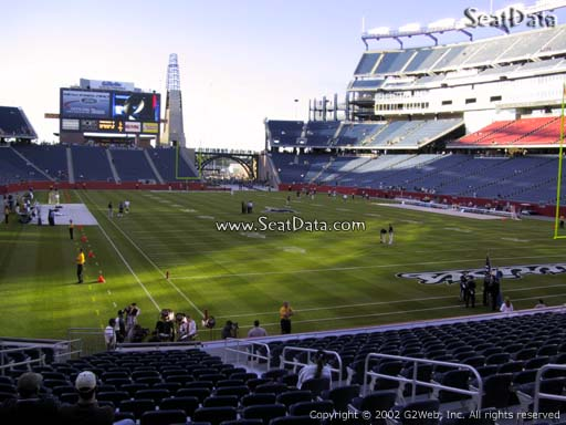 Seat view from section 123 at Gillette Stadium, home of the New England Patriots