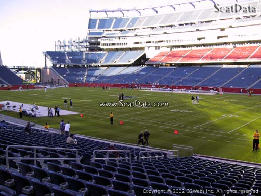 Seat view from section 127 at Gillette Stadium, home of the New England Patriots