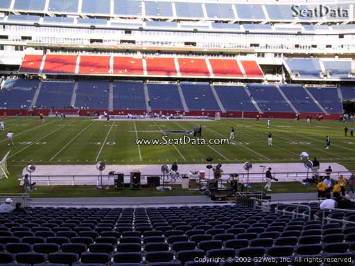 Seat view from section 132 at Gillette Stadium, home of the New England Patriots