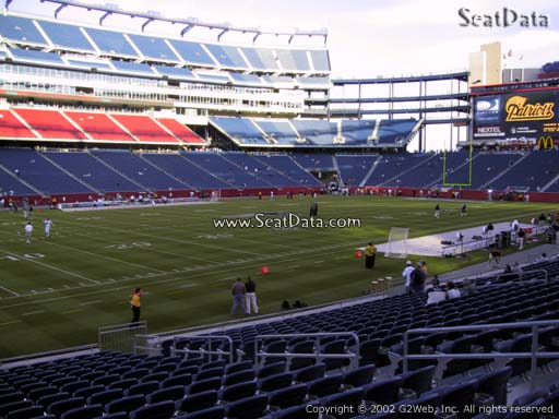 Seat view from section 136 at Gillette Stadium, home of the New England Patriots