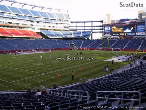 Seat view from section 138 at Gillette Stadium, home of the New England Patriots