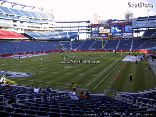 Seat view from section 140 at Gillette Stadium, home of the New England Patriots