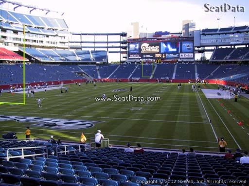 Seat view from section 141 at Gillette Stadium, home of the New England Patriots