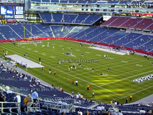 Seat view from section 203 at Gillette Stadium, home of the New England Patriots