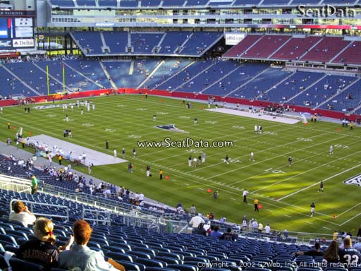 Seat view from section 204 at Gillette Stadium, home of the New England Patriots