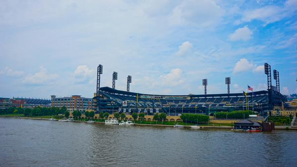 Photo of PNC Park from the Allegheny River in Pittsburgh, PA.