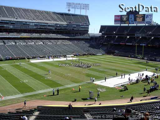 Seat view from section 222 at Oakland Coliseum, home of the Oakland Raiders