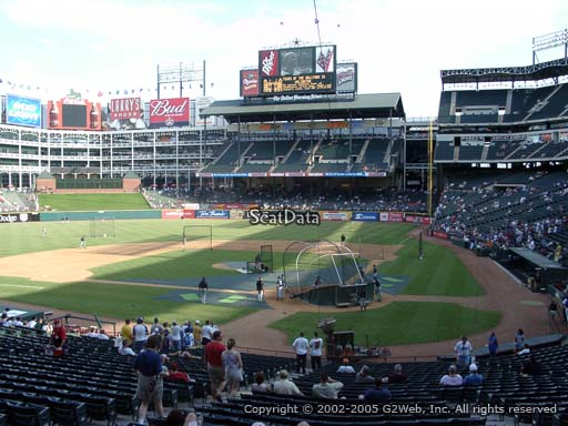 Seat view from section 124 at Globe Life Park in Arlington, home of the Texas Rangers