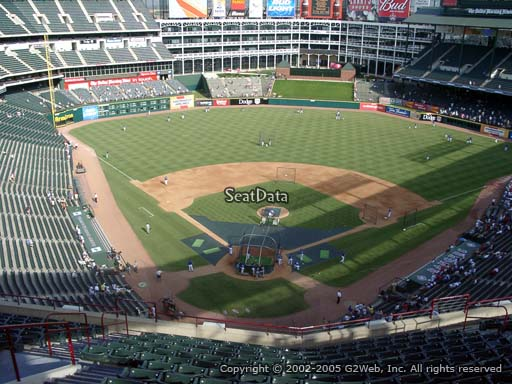 Seat view from section 327 at Globe Life Park in Arlington, home of the Texas Rangers
