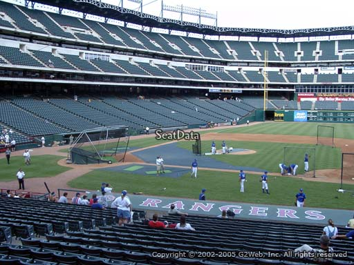 Seat view from section 33 at Globe Life Park in Arlington, home of the Texas Rangers