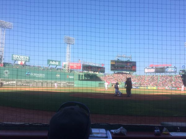 View from the Dugout Box Seats at Fenway Park