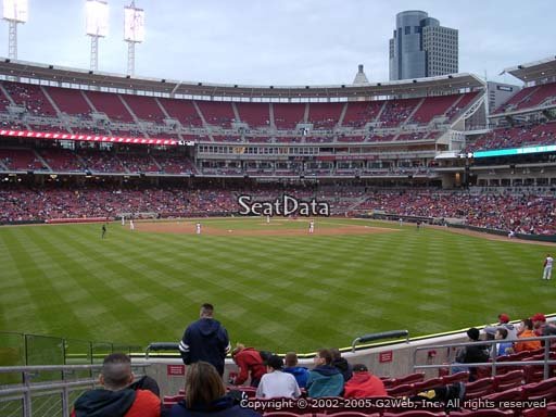 Seat view from section 101 at Great American Ball Park, home of the Cincinnati Reds