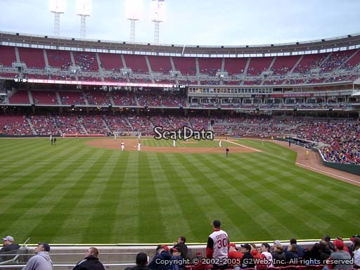 Seat view from section 104 at Great American Ball Park, home of the Cincinnati Reds
