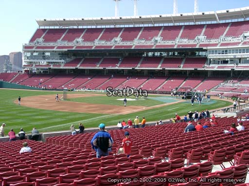 Seat view from section 111 at Great American Ball Park, home of the Cincinnati Reds