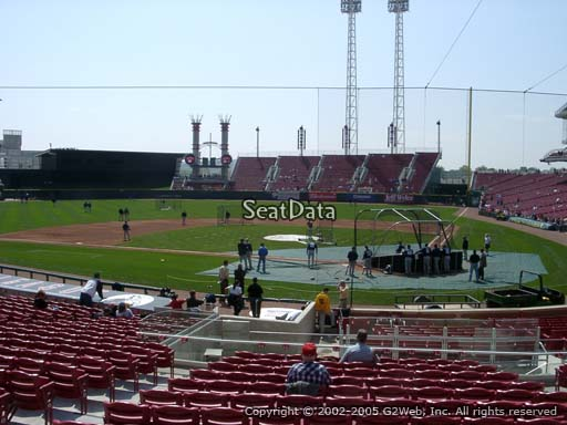 Seat view from section 120 at Great American Ball Park, home of the Cincinnati Reds