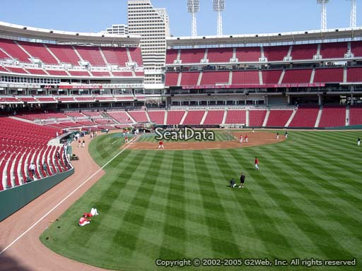 Seat view from section 140 at Great American Ball Park, home of the Cincinnati Reds