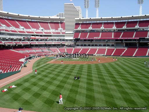 Seat view from section 141 at Great American Ball Park, home of the Cincinnati Reds