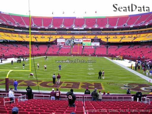 Seat view from section 110 at Fedex Field, home of the Washington Redskins