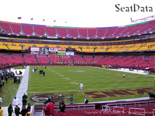 Seat view from section 113 at Fedex Field, home of the Washington Redskins