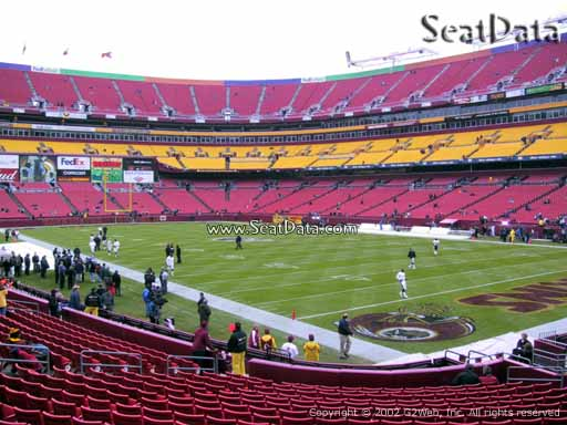 Seat view from Dream Seats 15 at Fedex Field, home of the Washington Redskins