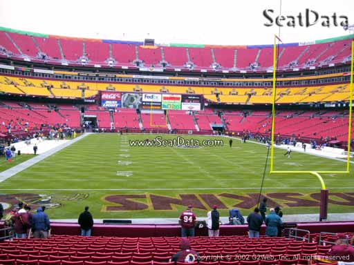 Seat view from Dream Seats 33 at Fedex Field, home of the Washington Redskins