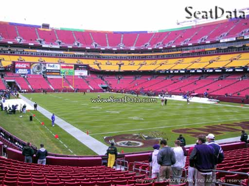 Seat view from section 135 at Fedex Field, home of the Washington Redskins