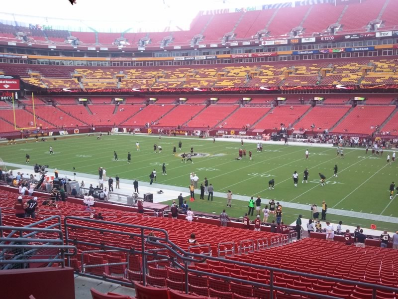 Seat view from section 218 at Fedex Field, home of the Washington Redskins