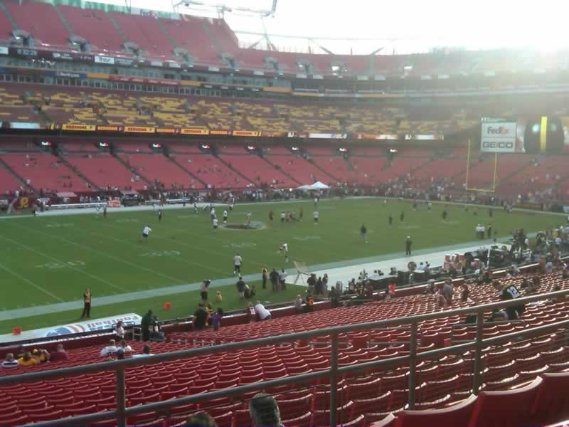 Seat view from section 225 at Fedex Field, home of the Washington Redskins