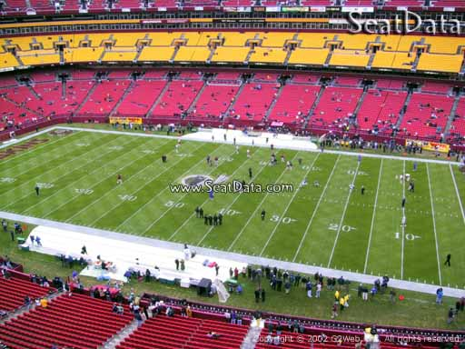 Seat view from section 319 at Fedex Field, home of the Washington Redskins