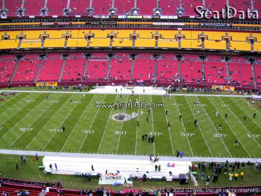 Seat view from section 321 at Fedex Field, home of the Washington Redskins