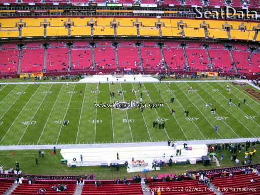 Seat view from section 322 at Fedex Field, home of the Washington Redskins