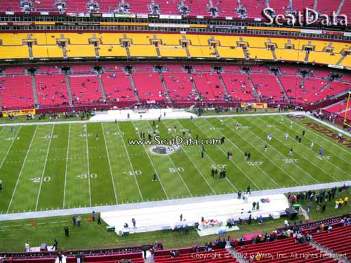 Seat view from section 323 at Fedex Field, home of the Washington Redskins