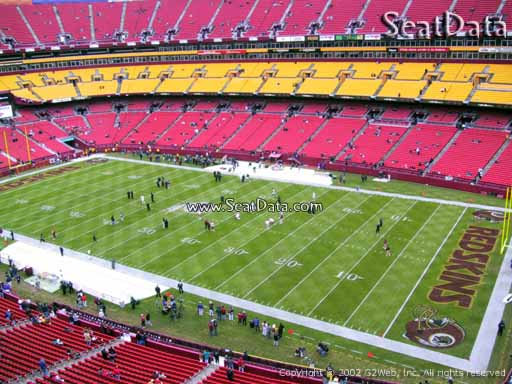 Seat view from section 338 at Fedex Field, home of the Washington Redskins