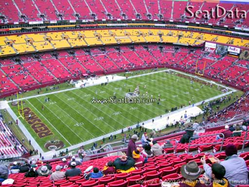 Seat view from section 406 at Fedex Field, home of the Washington Redskins