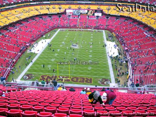 Seat view from section 413 at Fedex Field, home of the Washington Redskins