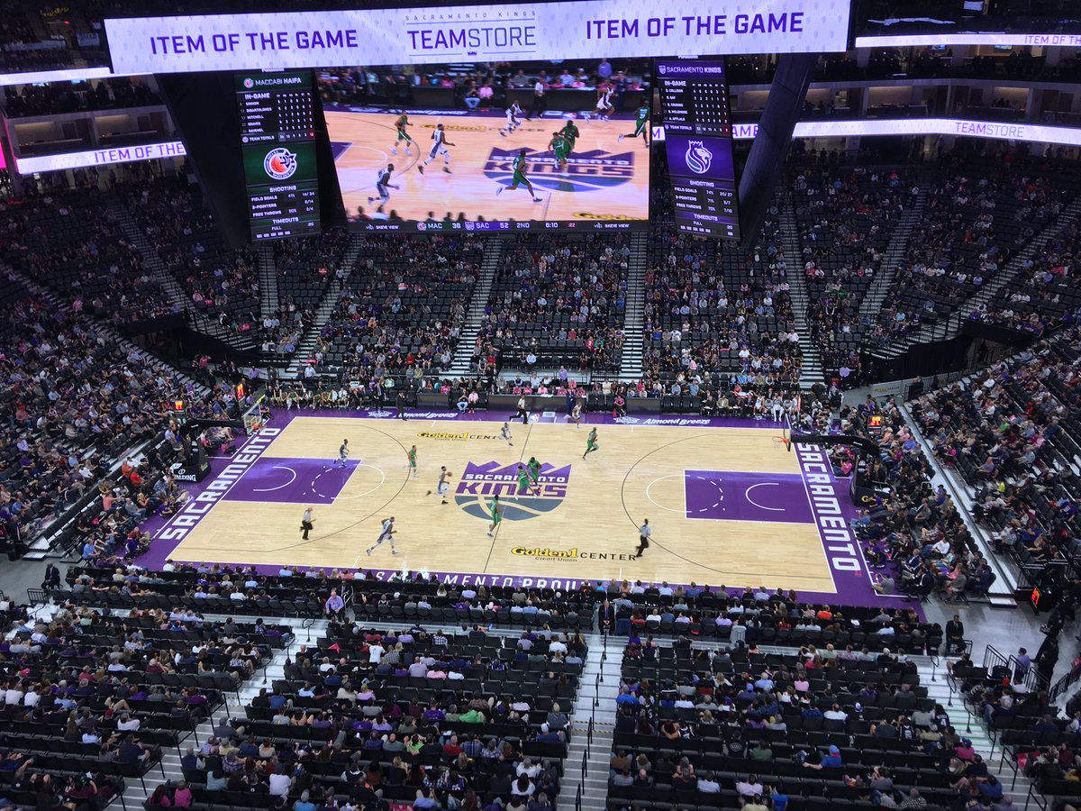 Photo of the court at the Golden 1 Center, home of the Sacramento Kings.