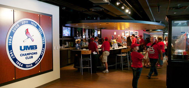 View of UMB Cardinals Club Lounge at Busch Stadium