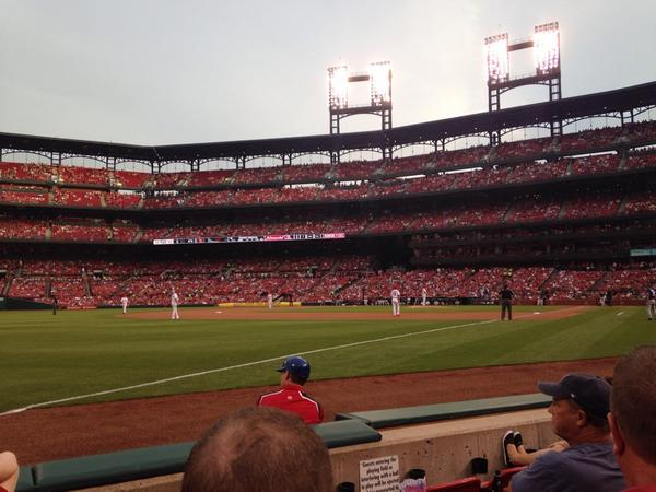 View from the Dugout Boxes at Busch Stadium. Home of the St. Louis Cardinals.