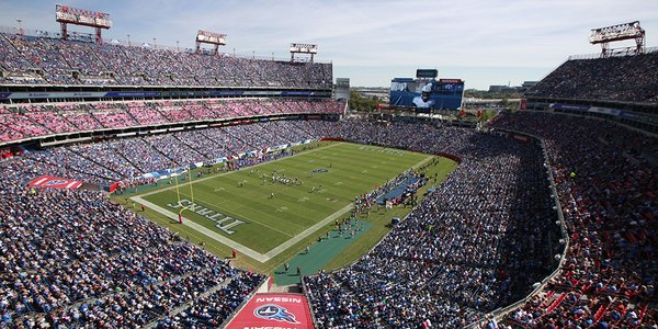 Photo of the field at Nissan Stadium, home of the Tennessee Titans.