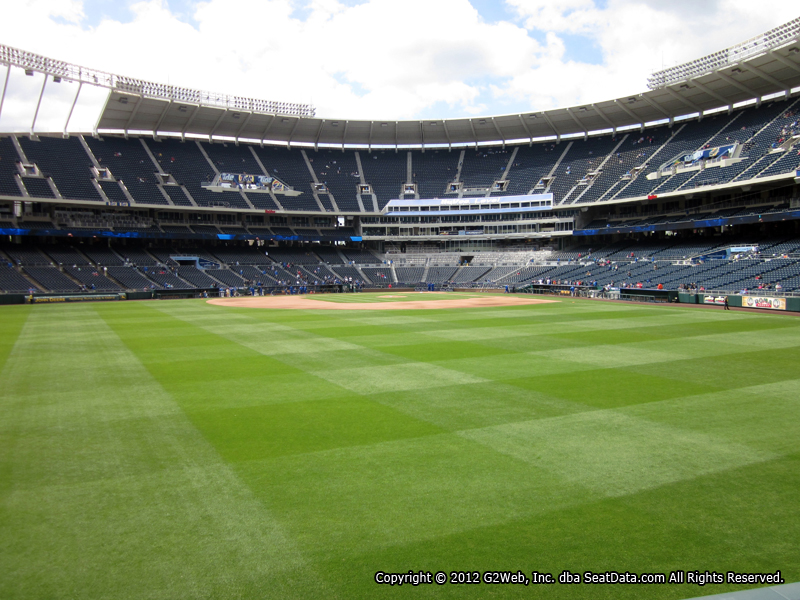 Seat view from section 101 at Kauffman Stadium, home of the Kansas City Royals