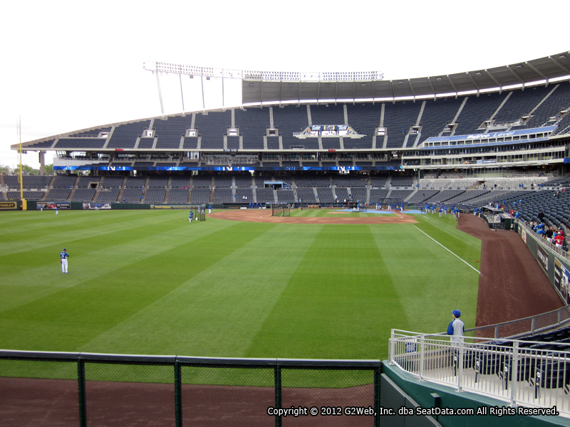 Seat view from section 106 at Kauffman Stadium, home of the Kansas City Royals
