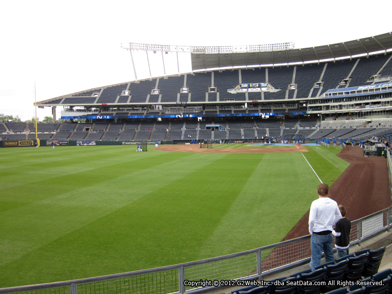 Seat view from section 107 at Kauffman Stadium, home of the Kansas City Royals